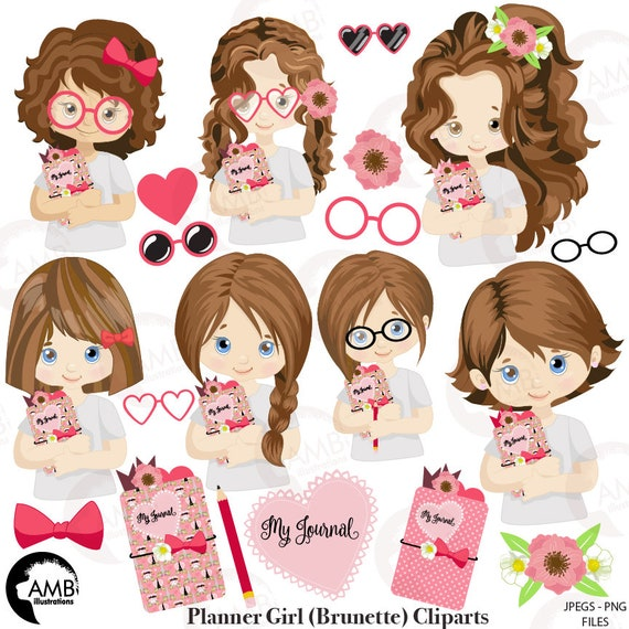 Planner Girl Clipart Planner Clipart Journaling Clipart Journal Girl Clipart Amb 2164 By Ambillustrations Catch My Party