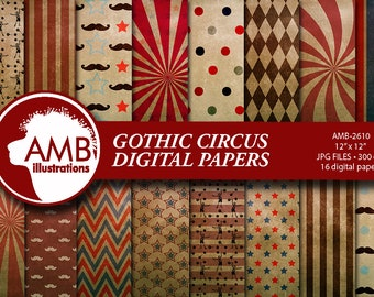 Circus digital papers, Carnival Papers, Gothic Circus papers, Gothic grunge papers, Circus grunge papers, comm-use, AMB-2610
