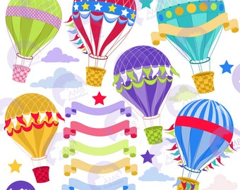 Hot Air Balloon Clipart, Banners clipart, Party clipart, Birthday party clipart, commercial use, digital clip art, AMB-1248