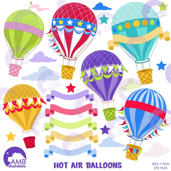 Hot Air Balloon Clipart Banners Clipart Party Clipart Birthday