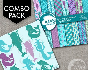 COMBO Mermaid silhouettes Clipart and Digital Paper, Nautical Clipart, Baby Shower Clipart, Commercial License, AMB-1736
