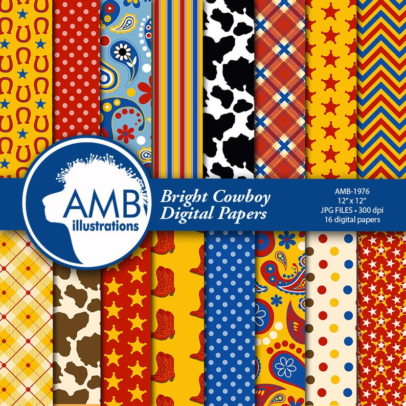 5fa6b5e9244 Cowboy Digital Paper, Cowboys in Bright Colors, Western Theme Scrapbooking  papers, The Old West Digital Papers, Commercial Use, AMB-1976