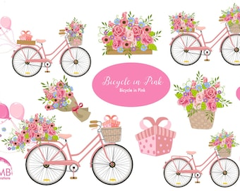 Wedding Bicycle clipart, Bicycle clipart, Bicycle and Flowers, Vintage Bicycle Clip Art, Pink Bicycle clipart, AMB-1323