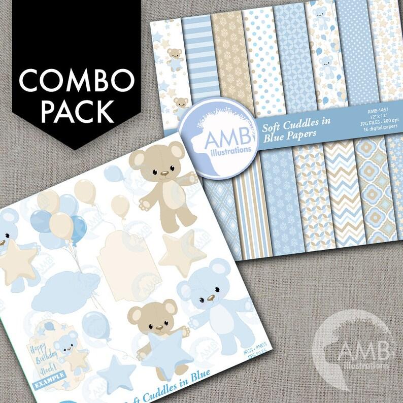 COMBO Teddy bear nursery slumber party baby boy bear image 0