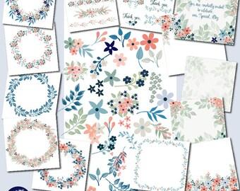 Floral elements MEGA Design pack, DIY floral wreath creator, diy floral design maker, Floral pages, Floral design kit, AMB-1840