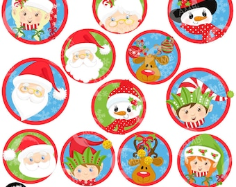 Christmas Faces Clipart, Christmas Bottle caps, Buttons, Clipart, Commercial Use, AMB-1126