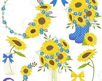 Sunflower clipart, Wedding clipart, shabby chic blue, sunflowers, country wedding, country party, mason jar, AMB-1435