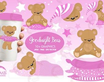 Teddy bear, nursery, slumber party, baby girl, bear,  Digital Clipart - Commercial Use, Girl Clipart, AMB-983