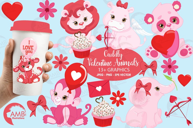 839c0541e8091 Valentine Clipart, Animal Clipart, Valentine's Day clipart, bear clipart,  lion clipart, elephant clipart, AMB-1577