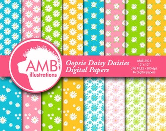 DAISY paper, daisy floral Digital Papers, oopsie Daisy florals, wedding paper, floral pattern, scrapbook paper, commercial use, AMB-2401