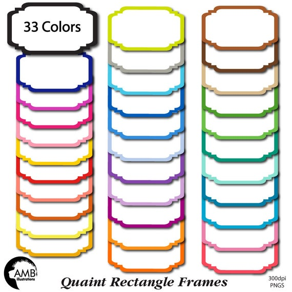 Frames Clipart Fancy Bright Colored Frames Rectangular White Etsy