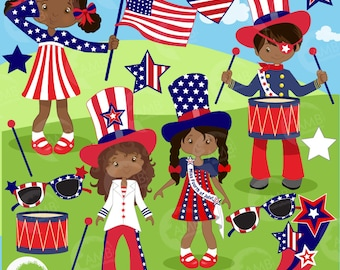 Fourth of July clipart, kids clipart, Independence Day clipart, 4th of July clipart, commercial use, digital clip art, AMB-1183
