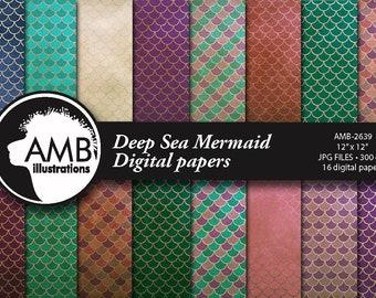 Mermaid Digital Papers,  Deep Sea Nautical Papers, Mermaid papers, mermaid scales paper,  commercial use, AMB-2639