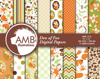 Forest Animals Digital Papers, Foxes digital papers, Digital papers, scrapbook papers, commercial use, AMB-1375