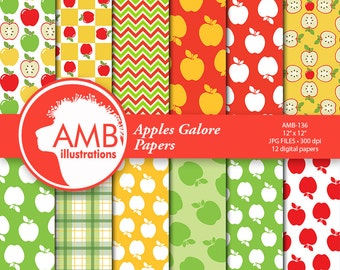 Apple digital papers Apple scrapbooking papers, Apples orchard, Apple Picking paper pack, Commercial Use, AMB-136