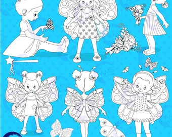 Butterfly Stamps, Fairy clipart, Fairy Digital Stamps, coloring page, black and white line, Princess, Butterfly Girls Stamps,  AMB-1085