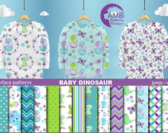 Dinosaur Papers, Baby dinosaur digital papers, Baby Dino Digital papers, dinosaur scrapbook papers, Commercial Use, AMB-2419