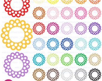 Scalloped frames, round labels, scalloped labels, commercial use, digital clip art, AMB-1142