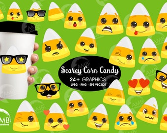 EMOJI clipart, Corn Candy emoticons, Halloween candy, Halloween candy faces, commercial use, digital clip art, AMB-2658