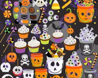 Halloween Clipart, Trick or Treat clipart, Halloween candy Clipart, Commercial Use, AMB-2480