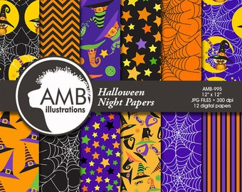 Halloween Digital paper. Halloween papers, Halloween backgrounds, Halloween pattern, Witches Hats Pattern, Commercial Use, AMB-995