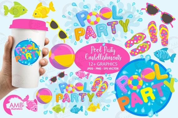 Pool Party Clipart Titles And Embellishments Invitations Birthday Commercial Use AMB 902