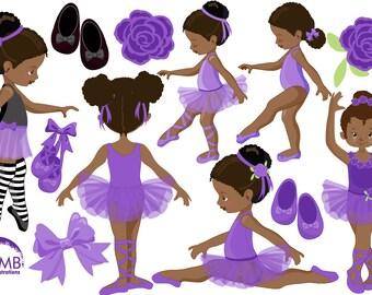 Ballerina clipart, Ballet clipart, African American Ballerina, Purple ballerinas, Dark skin tone ballet dancer, ballerina in purple AMB-1947
