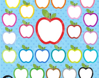 Apple Clipart, Apple Clip Art, Apples clipart, Apple Outlines, Commercial Use, Classroom Clipart, Commercial Use, AMB-140