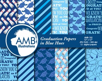 Graduation digital papers, Grad papers, Graduation scrapbook papers, commercial use, digital backgrounds, Craft Supplies, AMB-182