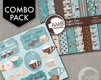 COMBO Coffee clipart, Coffee time clipart, Coffee frame clipart, Coffee teal and brown cups, Coffee words, Cafe Digital Papers, AMB-1709