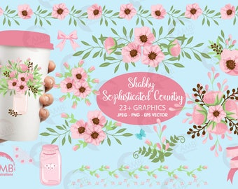 Wedding Floral clipart, Floral clipart clipart, Mason jar clipart, Shabby Chic, Country clipart, Pink Floral clipart, AMB-1080