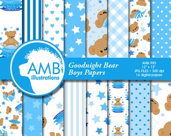 Goodnight Bear papers, Teddybear papers, Nursery papers, baby boy bear,  It's a Boy Scrapbook Papers, Comm.-Use, AMB-985