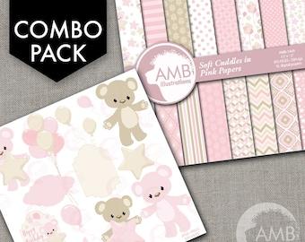 COMBO Teddy Bear, Nursery, Slumber Party, Baby Girl, Bear, Digital Clipart and Digital papers, Girl birthday clipart AMB-1600