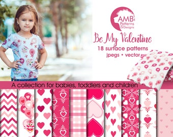 Valentine digital papers, Heart digital papers, Owl Digital Papers, Valentines Day papers, Commercial Use, AMB-1166
