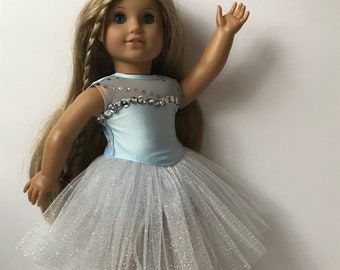 """A Cool Blue Prima Ballerina 2 Piece Doll Dance Costume - Fits an 18"""" American Girl Sized Doll"""