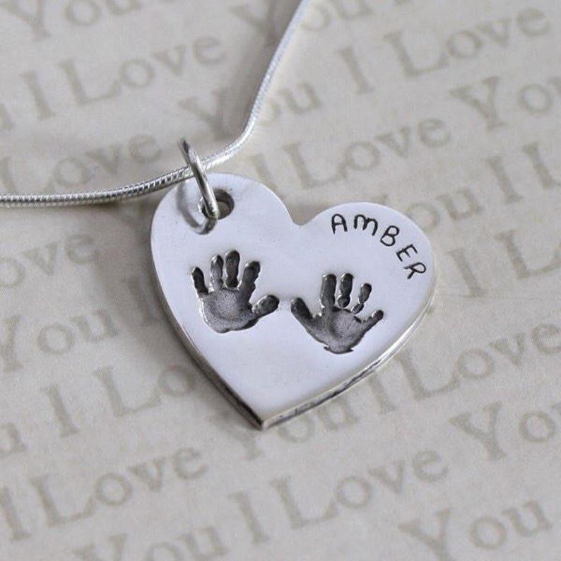 011f65d9d Handprint Necklace Hand Print Necklace Handprint Charm | Etsy