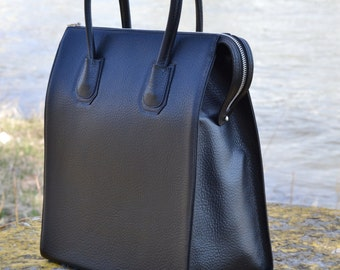 BLACK LEATHER HANDBAG, Black Leather Bag, Leather Tote Bag with Zipper, Large Leather Tote, Large Leather Handbag, Black Leather Purse