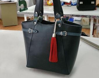 Blue LEATHER TOTE BAG,Blue Leather Bag, Leather Shoulder Bag,Blue Leather Handbag,Leather Tote Bag,Woman Leather Bag, Woman Leather Tote