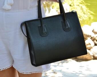 BLACK LEATHER HANDBAG, Black Leather Bag, Black Leather Tote Bag, Woman Leather Bag, Minimalist Leather Bag, Medium Leather Bag