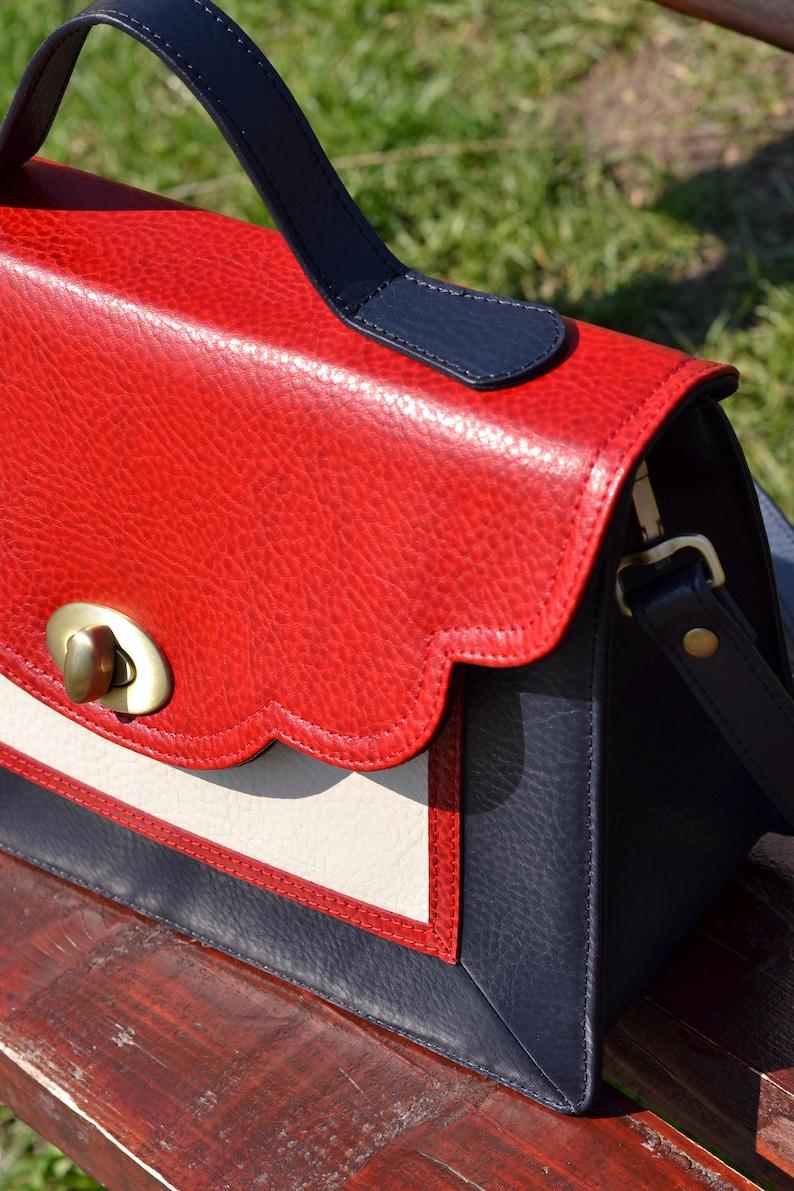 LEATHER MESSENGER Bag Leather School Bag Leather Shoulder Bag Red-Blue-Cream Leather Bag Leather Crossbody Bag Leather Messenger