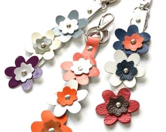 HANDMADE LEATHER FLOWERS Keyring, Leather Bag Charm, Handbag Leather Charm, Leather Keychain, Leather Flowers Charm