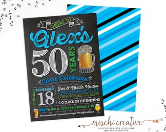 "Birthday Invitation for Him | Beers and Cheers Birthday Party DIY Personalized Printable Invite for Any Age, 5"" x 7"", Black, Blue and Green"