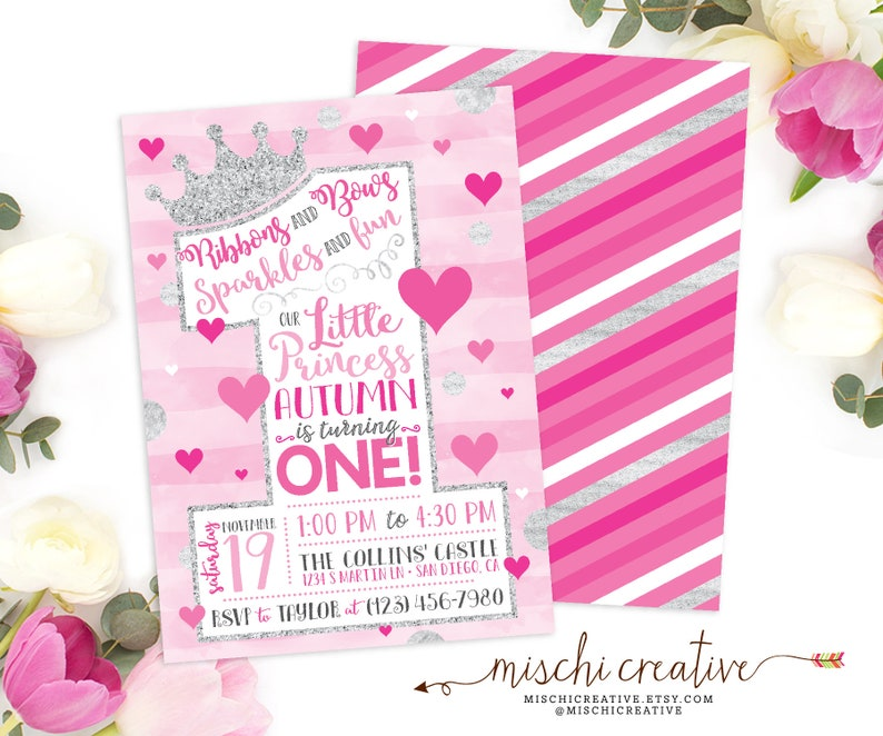 1st Birthday Princess Party Invitation Girls Little