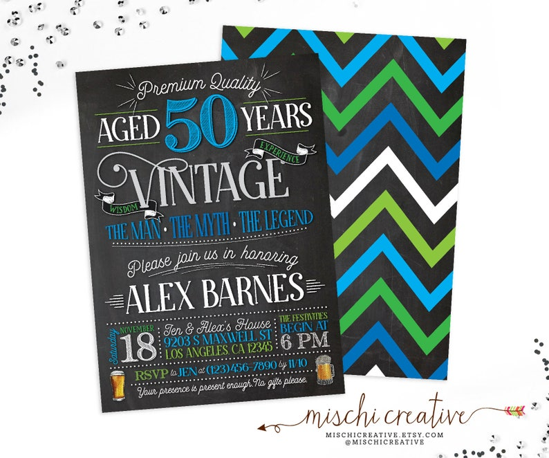 50th Birthday Invitation For Men Vintage Aged To Perfection