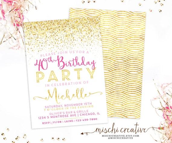40th Birthday Invitation For Her Sparkle Milestone