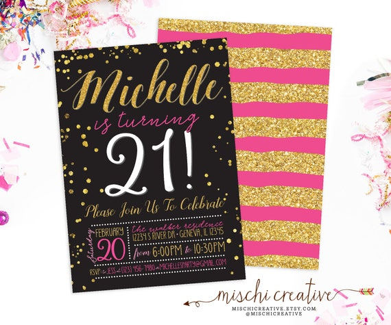 21st Birthday Invitation For Women Glam Party