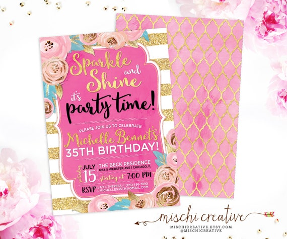 35th Birthday Invitation For Women Sparkle And Shine