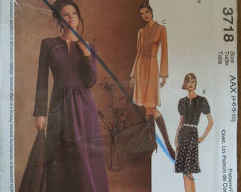 McCalls 3718, sizes 4-10, dress, UNCUT sewing pattern, craft supplies, misses, womens