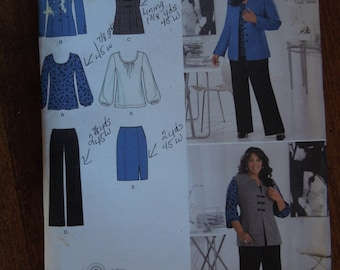 Simplicity 2344, sizes 20W-28W, UNCUT sewing pattern, craft supplies, separates, skirt, blouse, vest, pants, jacket