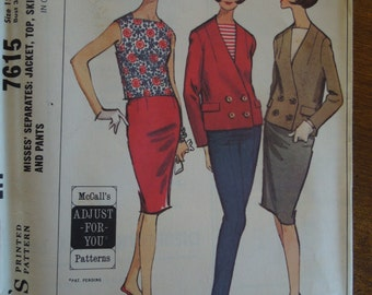 McCalls 7615, sizes 12-14, jacket, top, skirt and pants, UNCUT sewing pattern, craft supplies, misses, womens,